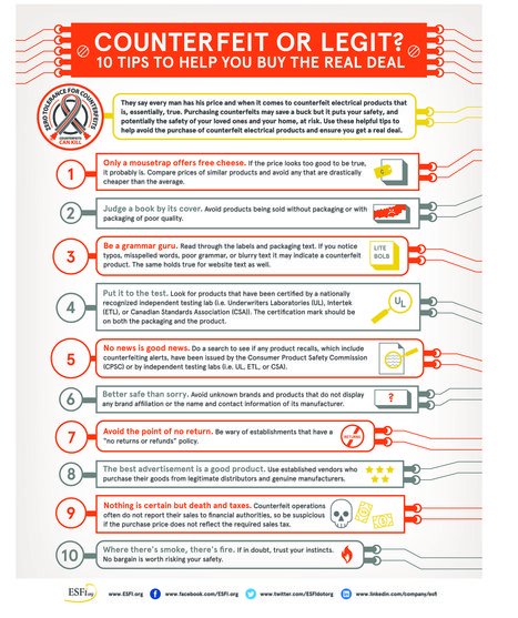 Counterfeit or Legit? 10 Tips to Help You Buy the Real Deal - ESFi :: Electrical Safety Foundation International | Electronics | Scoop.it