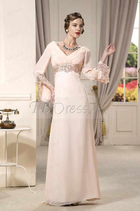 Gorgeous Column/Sheath Floor-Length Empire Waist V-neck Evening/Party Dress | skirt | Scoop.it
