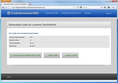 Free .NET Code Generator - Generate DAL and Stored Procedures - CodeGenerator360.com | .NET Code Generation | Scoop.it