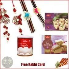 Rakhi Family Set with Haldiram Rasgulla, Soan Papadi and Kaju Burfi - Send Rakhi to USA   Rakhi Gifts to India, USA, UK, Canada, Australia   Scoop.it