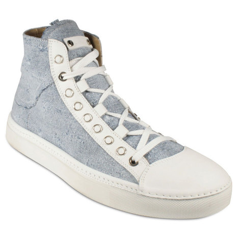 Cesare Paciotti Mens Washed Denim Light Blue Hightop Sneakers | Designer Mens Shoes | Scoop.it