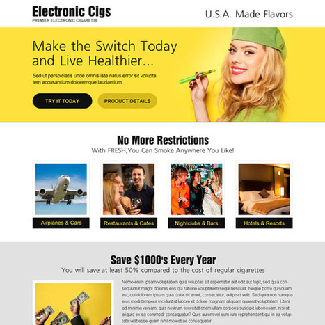 E-cigarette landing page design templates to sell your electronics cigarette | buy landing page design | Scoop.it