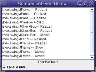 How to Write a Component Listener (The Java™ Tutorials > Creating a GUI With JFC/Swing > Writing Event Listeners) | JAVA | Scoop.it