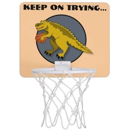 Yellow dinosaur cartoon playing basketball | Unique and Customizable Gifts | Scoop.it