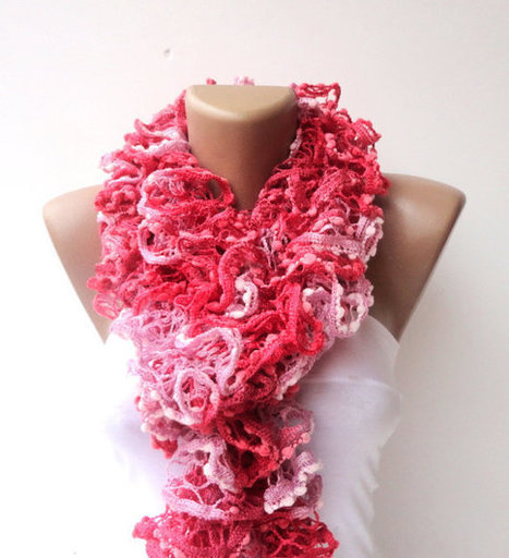 scarf women hand knitted ruffled scarf - pink coral red  long scarves ruffle knitting | Knit Ruffled Scarf,multicolor scarf,2013 NEW TREND SCARF,accessories,gifts for her,fashion,long scarf | Scoop.it