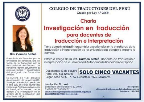 2015-10-13 Lima, Charla: Investigación en traducción para docentes de traducción e interpretación. | Traducción en Perú: eventos, noticias, talleres | Scoop.it