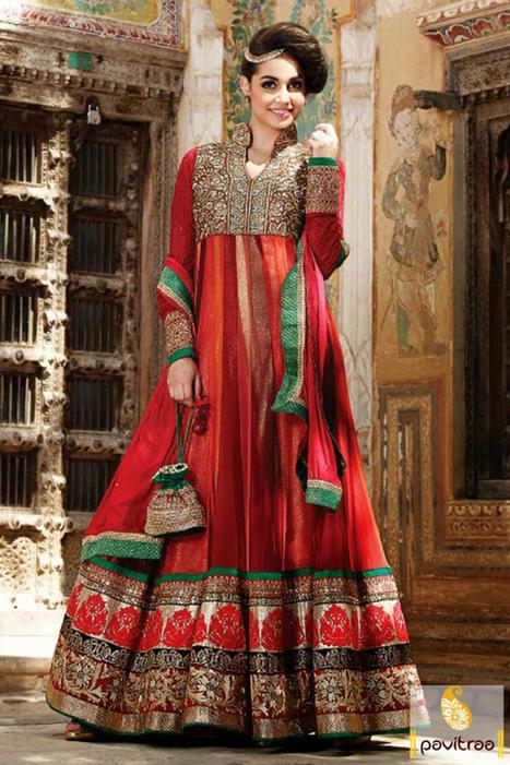 Red Orange Beige Net Anarkali Salwar Suit   Pavitraa   Scoop.it