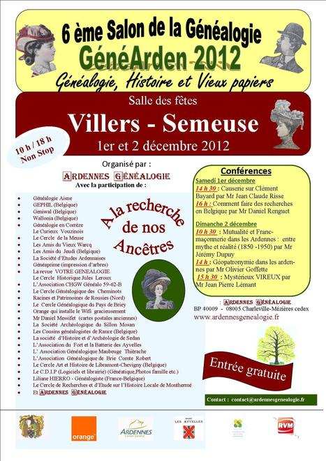 Salon Généarden 2012 à Villers-Semeuse (08) - Le Blog ... | Rhit Genealogie | Scoop.it
