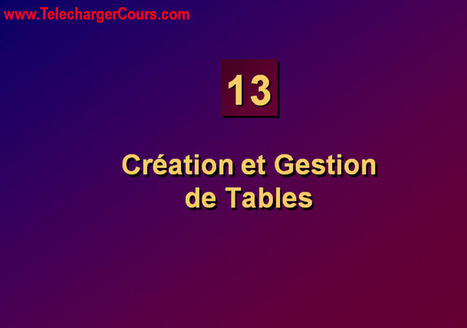 Création et Gestion de Tables | SQL Oracle | Cours Informatique | Scoop.it