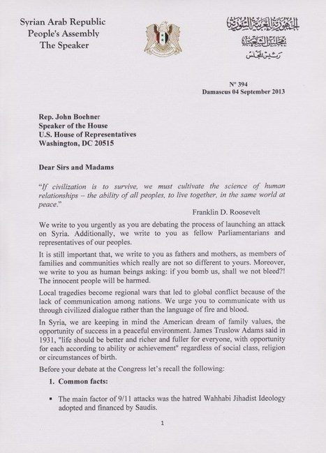 Syrian Parliament Letter To The US House Of Representatives | National News | Scoop.it