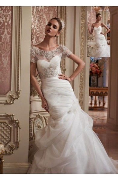 Sheath Lace Bodice Bateau Neck Short Sleeve With Bubble Skirt Royal Wedding Dresses at 199dresses | wedding dresses collection | Scoop.it