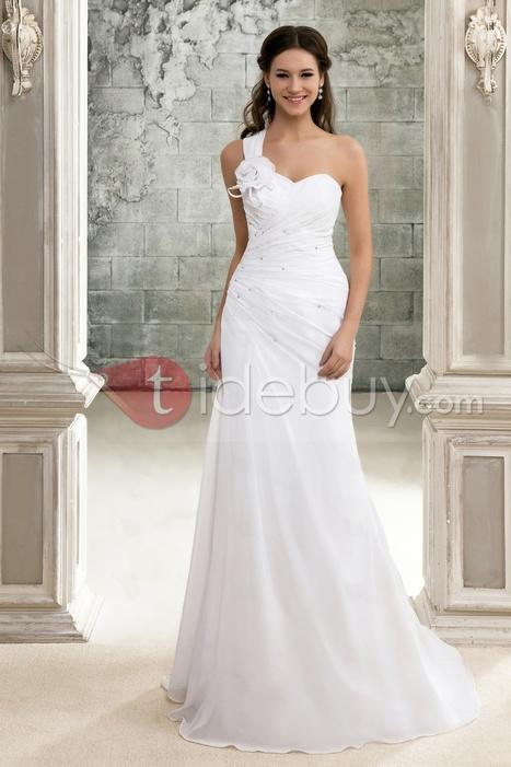 Elegant A-Line One-Shoulder Chapel Train Pleats Sandra's Wedding Dress | lovely girl | Scoop.it