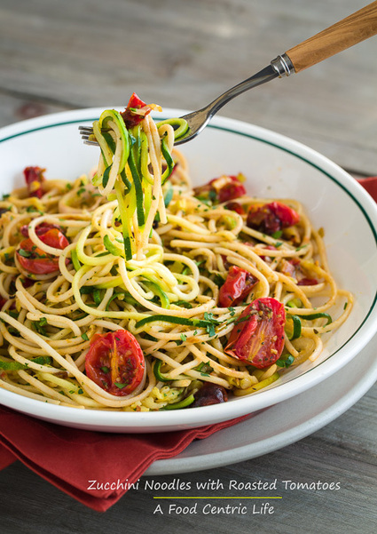 #HealthyRecipe / Zucchini Noodles with Pasta and Roasted Tomatoes | Nutrition | Scoop.it
