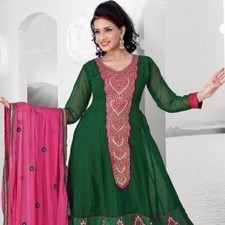 Bottle Green Faux Georgette Salwar Kameez | Strollay.com | Scoop.it