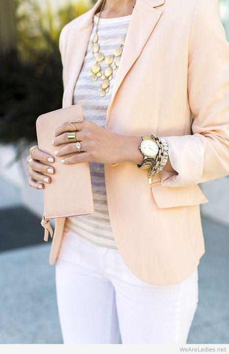 Wonderful nude blazer and gold accessories   Pintast   Scoop.it