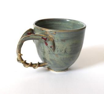 Craftori » Green jade coffee mug, organic, nature inspired, split handle tea cup | Good stuff to get | Scoop.it
