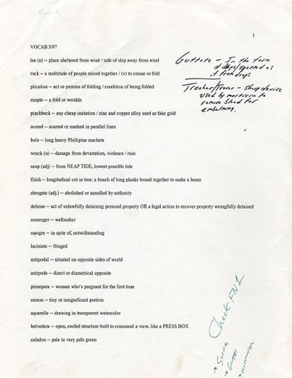 Angelo Ricci - earlyfrost: David Foster Wallace's Word Lists... | Progettare l'improvvisazione | Scoop.it