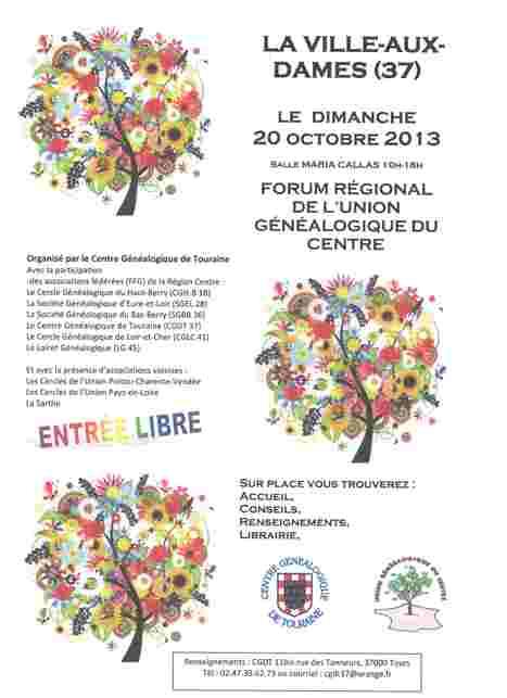 Forum régional de l'UGC: 20 octobre 2013 à La Ville-Aux-Dames (37)   RoBot généalogie   Scoop.it