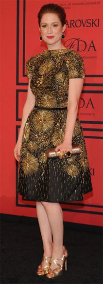 Ellie Kemper in Rupert Sanderson Gold Sandals | Top Shoes | Scoop.it