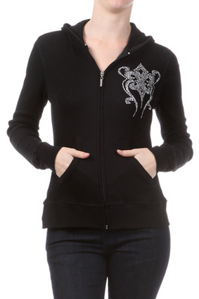 Long sleeve Double hooded Thermal with spandex Zipper Rhinestones Garment made in Bangladesh, rhinestone done in USA | Women's Clothing at Bvira.com | Scoop.it