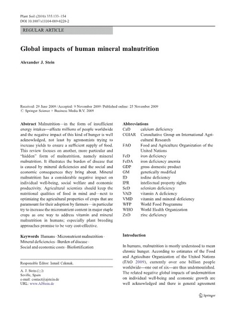 Global impacts of human mineral malnutrition | Publications of A.J.Stein | Scoop.it