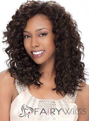 Elegant Medium Curly Brown No Bang African American Lace Wigs for Women 16 Inch : fairywigs.com | African American Wigs | Scoop.it