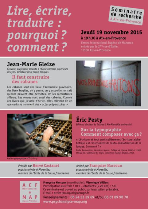 (agenda) 19 novembre, Aix, Jean-Marie Gleize et Eric Pesty | Poezibao | Scoop.it