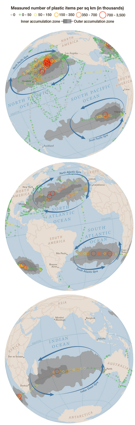 First-of-its-Kind Map Details Extent of Plastic in Five Ocean Gyres | Zero Footprint | Scoop.it
