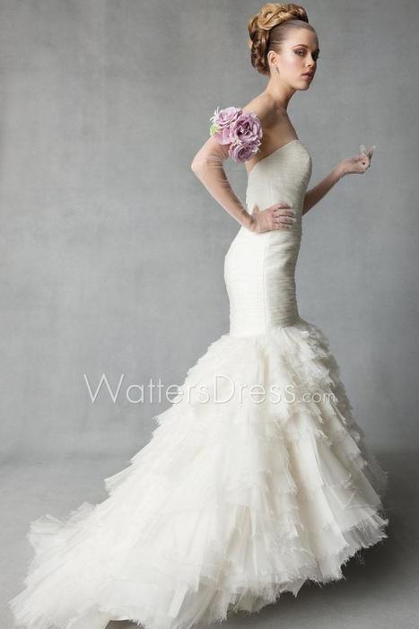 Draped Sweetheart Dropped Organza Mermaid Multi-layered Designer Wedding Dress | wedding dresses collection | Scoop.it