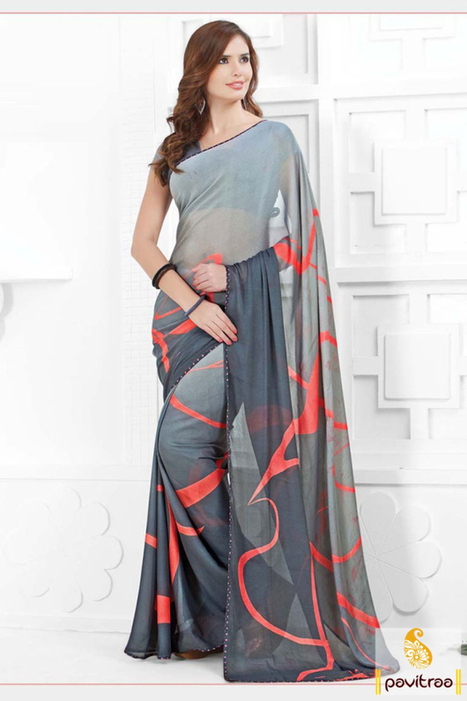 Grey Georgette Printed Special occasion Party Wear Saree   Pavitraa   Scoop.it