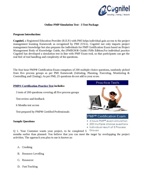 Online PMP Simulation Test - 3 Test Package.pdf | Cognitel Training Courses | Scoop.it