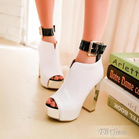Fashionable Hot Selling Silver Chunky Heels Buckle Peep-toe White Shoes   women fashion&clothing   Scoop.it