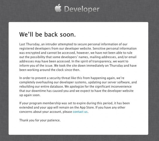 Apple blames days-long Developer Center outage ...