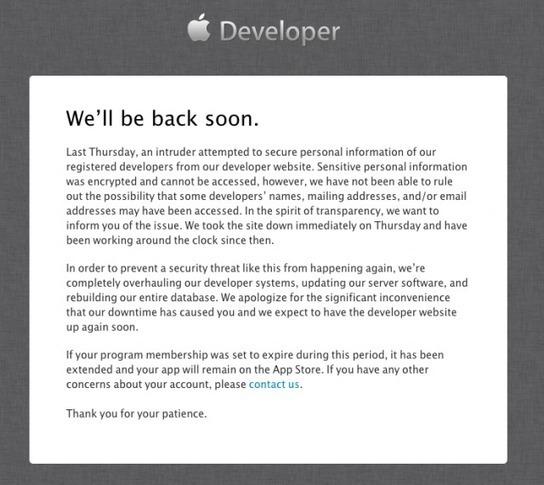 Apple blames days-long Developer Center outage ...