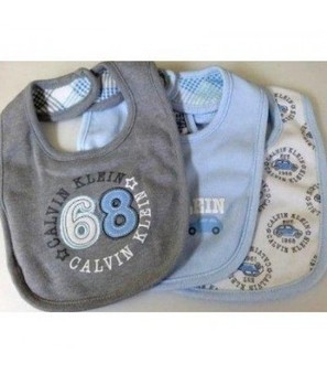 Adorable Calvin Klein Layette Set of 3 Blue, White and Gray Bibs O/S   Online Store   Scoop.it