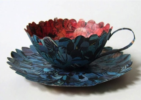 Cecilia Levy Produces #Cups and #Saucers Out of #Spiderman #Comics and Century-Old #Books. #art | Luby Art | Scoop.it