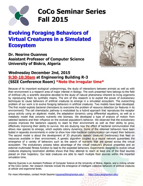 One More CoCo Seminar by Nesrine Ouannes on Wednesday December 2nd | Center for Collective Dynamics of Complex Systems (CoCo) | Scoop.it