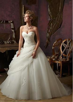 [186.47] Graceful Organza&Satin Ball Gown Sweetheart Neckline Dropped Waistline Wedding Dress - Dressilyme.com | lovely girl | Scoop.it