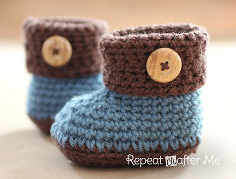 Repeat Crafter Me: Crochet Cuffed Baby Booties Pattern | All Crochet | Scoop.it