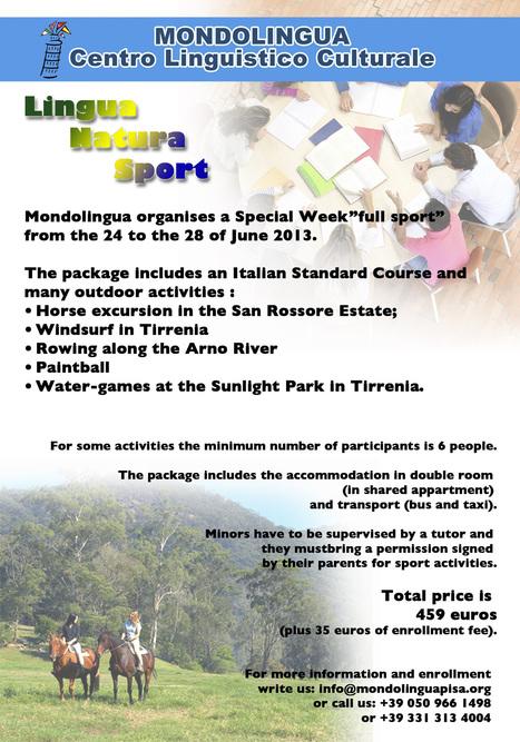 Special Program - Lingua Natura Sport - June 2013 - Mondolingua | Holiday in Pisa | Scoop.it