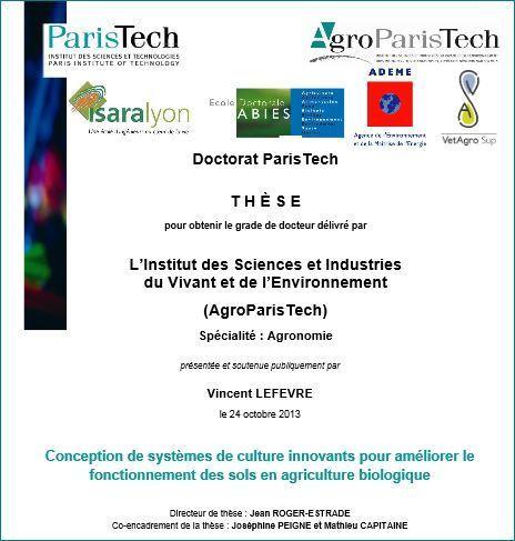 Conception de systèmes de culture innovants pour améliorer le fonctionnement des sols en agriculture biologique. V. Lefevre. 2013 | l'agronomie              en thèses | Scoop.it