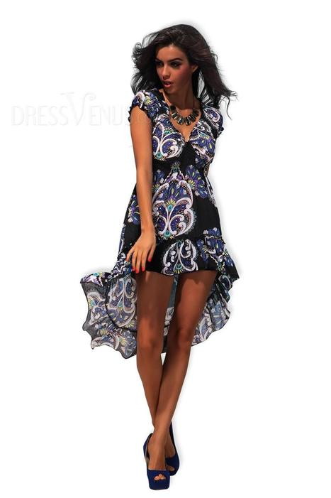Sexy Black Print V-neck Cap Sleeve High-Low Long Day Dress | sweet | Scoop.it