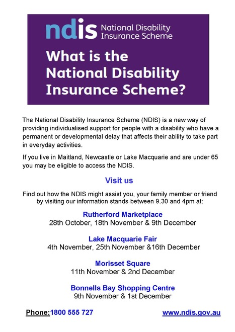 NDIS Pop-Up Kiosks at Hunter Shopping Centres to provide information   All things NDCO!   Scoop.it