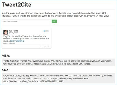 Tweet2Cite: Twitter Citation Generator » Technology for Academics | Tech Tools and the Library | Scoop.it