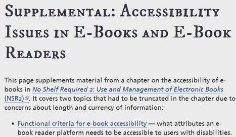 Functional Criteria and E-Book Reader Overview | Accessibility Issues in E-Books and E-Book Readers | NSR2 | Inclusive teaching and learning | Scoop.it