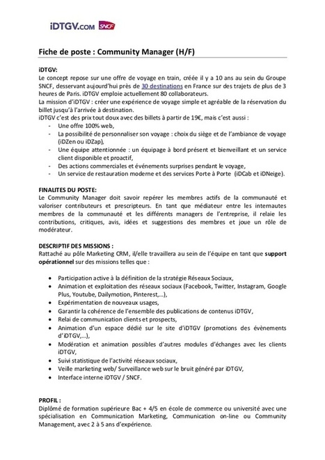 offre d u0026 39 emploi - stage community manager