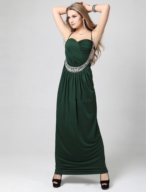 A Line Halter Ankle Length Green Evening Dress Olc0084 | Fashion Dresses Online | Scoop.it