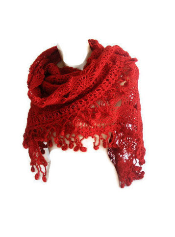women fashion shawl, Hand crocheted Shawl, red shawl, wrap, stole, unique, for her | MY SCARVES | Scoop.it