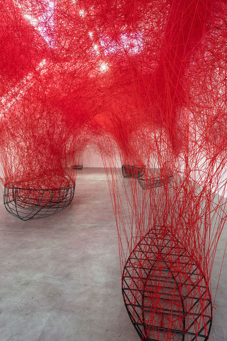 Complex Web of Red Thread Swarms Above Stranded Boats as a Meditation on Fate | Le It e Amo ✪ | Scoop.it