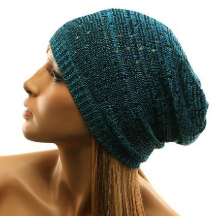 light skinny Vented mushy Knit long Beanie Slouchy Slouch cranium Hat Cap Blue Black | from my desk | Scoop.it